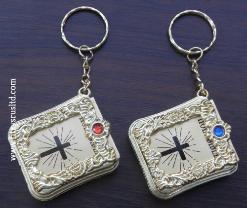 Keychain Bead & Miniature Bible Holy Book Keyring Communion Christening Key Ring